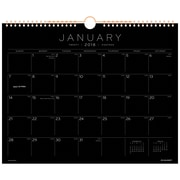 """2018 AT-A-GLANCE® Black Paper Monthly Wall Calendar, 12 Months, January Start, 15""""x12"""", Wirebound (PM8BP-28-18)"""