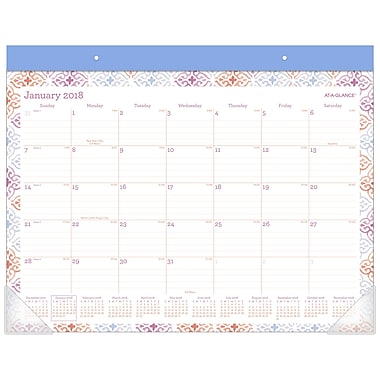 2018 AT-A-GLANCE® Cecilia Monthly Desk Pad, 12 Months, January Start, 22