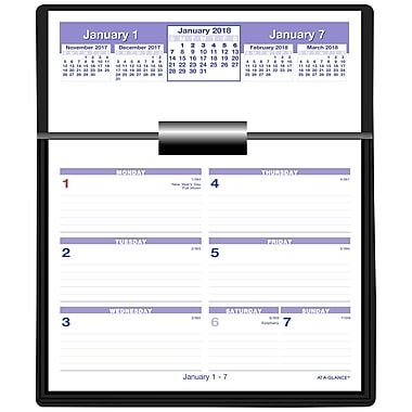 2018 AT-A-GLANCE® Flip-A-Week Calendar and Base Set, Black Base and 12 Months of 5-5/8