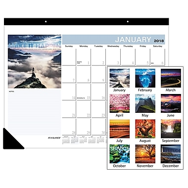 2018 AT-A-GLANCE® Monthly Desk Pad Calendar, January-December, 22