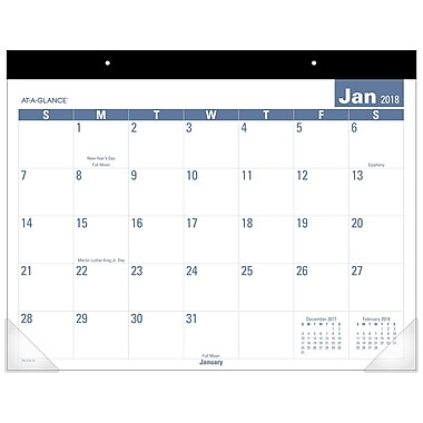 2018 AT-A-GLANCE® Monthly Desk Pad Calendar, Easy to Read, January 2018-December 2018, 22