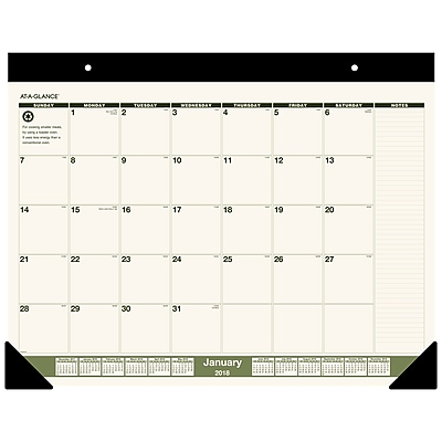 2018 AT-A-GLANCE® Monthly Desk Pad Calendar, Recycled, January 2018 - December 2018, 22
