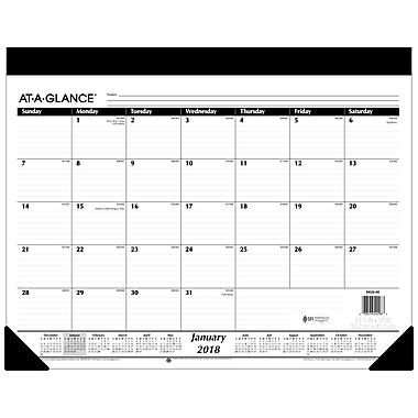 2018 AT-A-GLANCE® Monthly Desk Pad Calendar, Refillable, 22