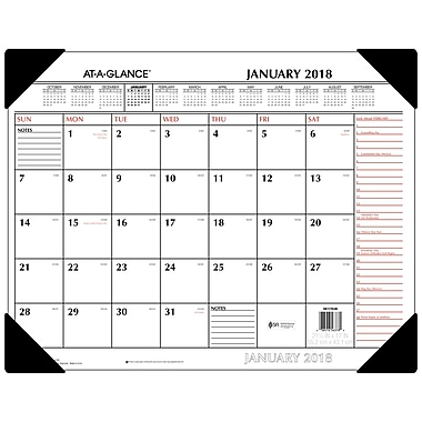 2018 AT-A-GLANCE® Monthly Desk Pad Calendar, January 2018-December 2018, 22