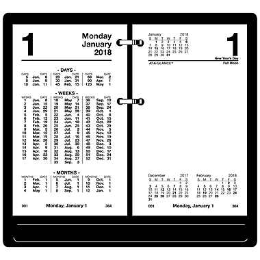 2018 AT-A-GLANCE® Daily Desk Calendar Refill, Financial, 3-1/2