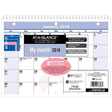 2018 AT-A-GLANCE® Monthly Wall Calendar, QuickNotes®, January 2018-December 2018, 11
