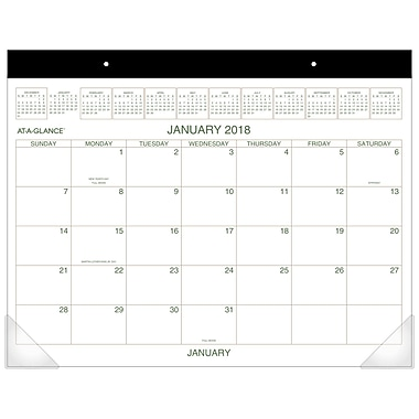 2018 AT-A-GLANCE® Two Color Monthly Desk Pad, 12 Months, January Start, 22