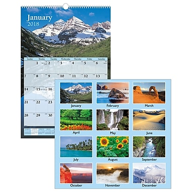 2018 AT-A-GLANCE® Scenic Wall Calendar, 12 Months, January Start, 15 1/2