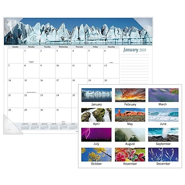 2018 AT-A-GLANCE® Nature Monthly Desk Pad, 12 Months, January Start, 22