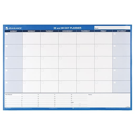 at a glance recycled 30 60 day undated horizontal erasable wall