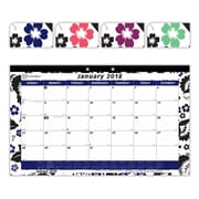 "2018 Brownline® 17-3/4"" x 10-7/8"" Monthly Desk Pad Calendar, Blossom Design (C195112)"