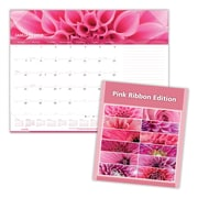 "2018 Brownline® 22"" x 17"" Pink Ribbon Monthly Desk Pad Calendar, Pink"