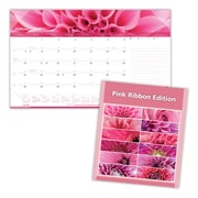"2018 Brownline® 17-3/4"" x 10-7/8"" Pink Ribbon Monthly Desk Pad Calendar, Pink"