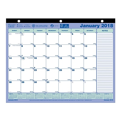 2018 Brownline 11 x 812 Monthly Desk Pad Calendar Blue and