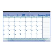 "2018 Brownline® 17-3/4"" x 10-7/8"" Monthly Desk Pad Calendar, Blue and White (C181700)"