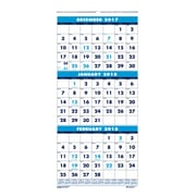 2018 House of Doolittle 12.25 x 26 Three Month View Wall Calendar Blue (3640)