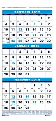 2018 House of Doolittle 12.25 x 26 Three Month View Wall Calendar Blue (3640)
