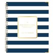 "2018 Day Designer for Blue Sky 8"" x 10"" Weekly/Monthly Hardcover Planner, Navy Stripe (103625)"