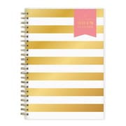 "2018 Day Designer for Blue Sky 5.875"" x 8.625"" Weekly/Monthly Planner Notes, Gold Stripe (103624)"
