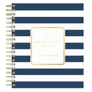 "2018 Day Designer for Blue Sky 8"" x 10"" Daily/Monthly Planner, Navy Stripe (103622)"
