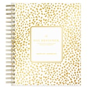 "2018 Day Designer for Blue Sky 8"" x 10"" Daily/Monthly Planner, Gold Spotty (103621)"