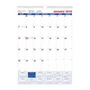 "2018 Brownline® 12"" x 17"" Monthly Wall Calendar, Blue and White (C171102)"