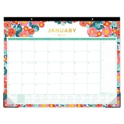 "2018 Day Designer for Blue Sky 22"" x 17"" Monthly Desk Pad, Floral Sketch (103266)"