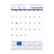 "2018 Brownline® 8"" x 11"" Monthly Wall Calendar, Blue and White (C171101)"