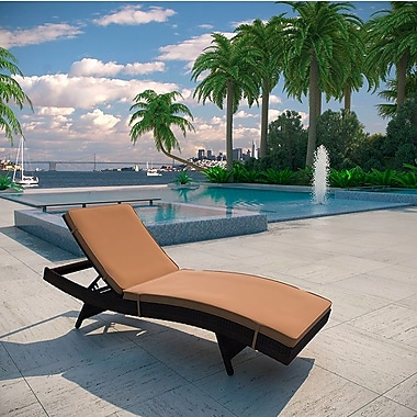 Brayden Studio Ludwick Chaise Lounge w/ Cushion; Mocha
