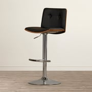Brayden Studio Adjustable Height Swivel Bar Stool; Black