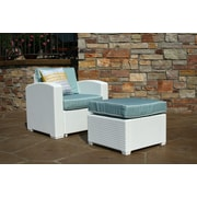 Brayden Studio Loggins Patio Chair w/ Cushion and Ottoman; White
