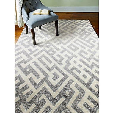Brayden Studio Lucus Hand-Tufted White/Taupe Area Rug; 8'6'' x 11'6''