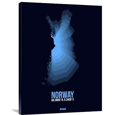 Naxart 'Norway Radiant Map 2' Graphic Art Print on Canvas; 24'' H x 18'' W x 1.5'' D