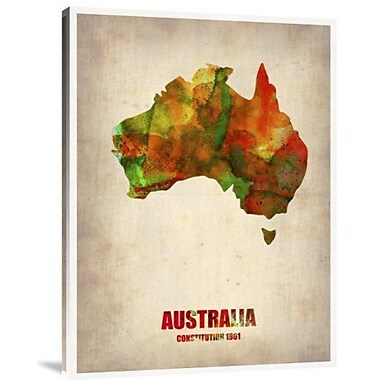 Naxart 'Australia Watercolor Map' Graphic Art Print on Canvas; 32'' H x 24'' W x 1.5'' D