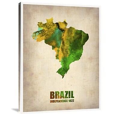 Naxart 'Brazil Watercolor Map' Graphic Art Print on Canvas; 16'' H x 12'' W x 1.5'' D