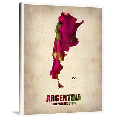 Naxart 'Argentina Watercolor Map' Graphic Art Print on Canvas; 32'' H x 24'' W x 1.5'' D