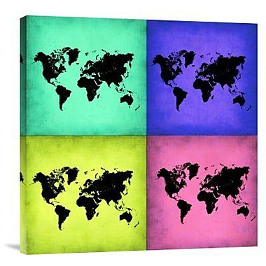 Naxart 'Pop Art World Map 2' Graphic Art Print on Canvas; 36'' H x 36'' W x 1.5'' D