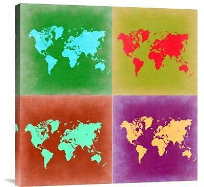 Naxart 'Pop Art World Map 3' Graphic Art Print on Canvas; 40'' H x 40'' W x 1.5'' D