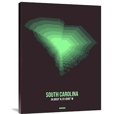 Naxart 'South Carolina Radiant Map 6' Graphic Art Print on Canvas; 32'' H x 24'' W x 1.5'' D