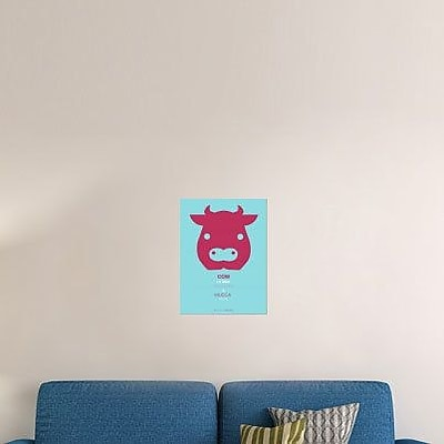 Naxart 'Red Cow Multilingual' Graphic Art Print on Canvas; 16'' H x 12'' W x 1.5'' D