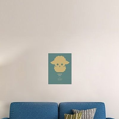 Naxart 'Yellow Sheep Multilingual' Graphic Art Print on Canvas in Blue; 32'' H x 24'' W x 1.5'' D