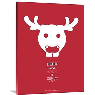 Naxart 'Red Moose Multilingual' Graphic Art Print on Canvas; 32'' H x 24'' W x 1.5'' D