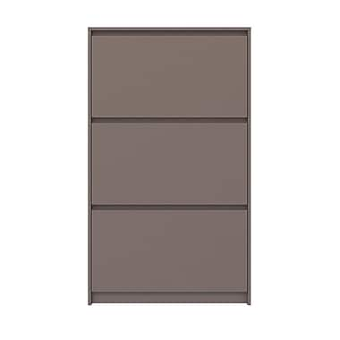 Rebrilliant Bright 16-Pair Shoe Storage Cabinet; Mocha High Gloss