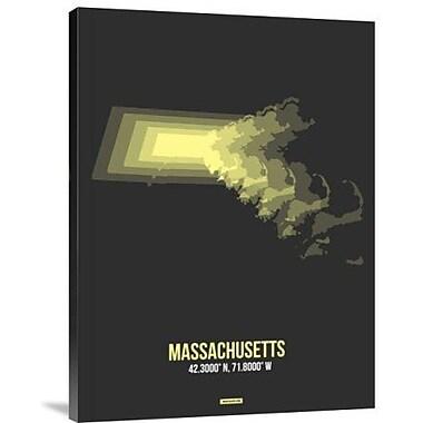Naxart 'Massachusetts Radiant Map 4' Graphic Art Print on Canvas; 24'' H x 18'' W x 1.5'' D
