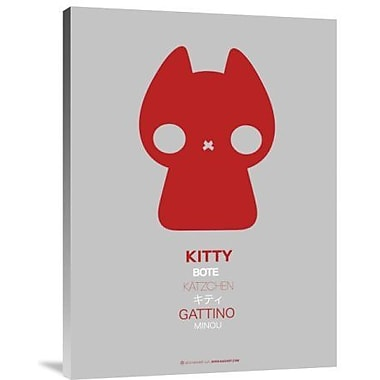 Naxart 'Red Kitty Multilingual' Graphic Art Print on Canvas; 32'' H x 24'' W x 1.5'' D