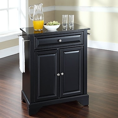 Darby Home Co Abbate Kitchen Cart w/ Granite Top; Black