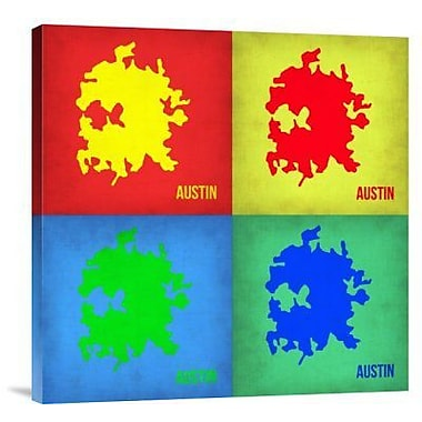 Naxart 'Austin Pop Art Map 1' Graphic Art Print on Canvas; 36'' H x 36'' W x 1.5'' D