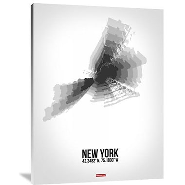 Naxart 'New York Radiant Map 4' Graphic Art Print on Canvas; 40'' H x 30'' W x 1.5'' D