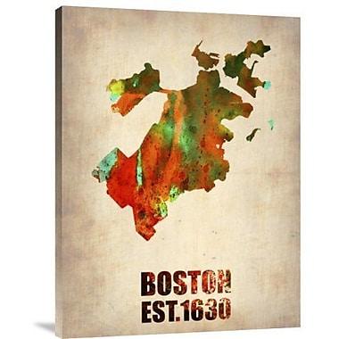 Naxart 'Boston Watercolor Map' Graphic Art Print on Canvas; 32'' H x 24'' W x 1.5'' D