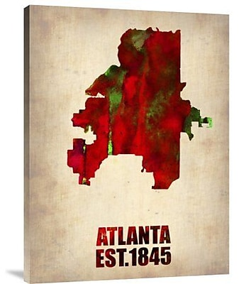 Naxart 'Atlanta Watercolor Map' Graphic Art Print on Canvas; 40'' H x 30'' W x 1.5'' D